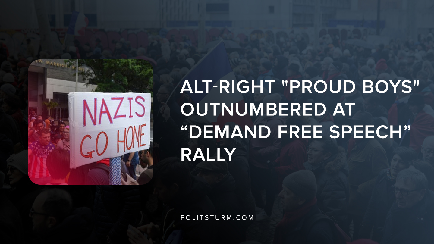 """Alt-Right """"Proud Boys"""" Outnumbered at """"Demand Free Speech"""" Rally"""