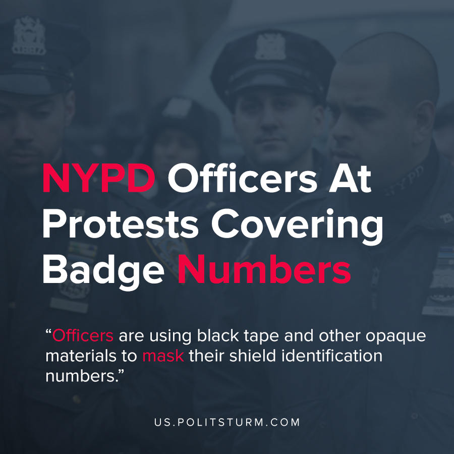 NYPD Officers At Protests Covering Badge Numbers